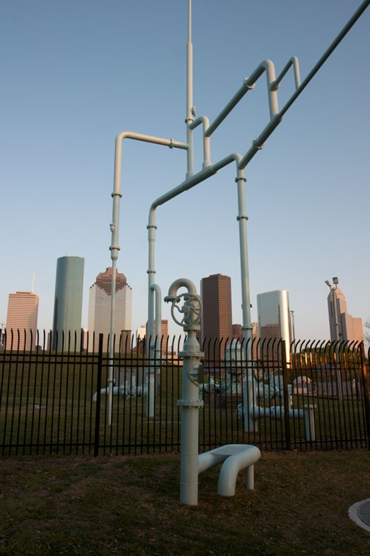 Houston Skyline with Mathew Geller sculpture in foreground